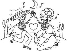 A sweet skeleton couple dances together in this cheery Dia de los Muertos design. Downloads as a PDF. Use pattern transfer paper to trace design for hand-stitching.