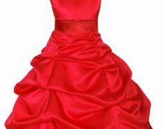 Red Flower Girl Dress tie sash pageant wedding bridal recital children bridesmaid toddler childs 37 sash sizes 2 4 6 8 10 12 14 16 #806s