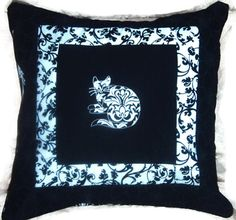 Pillow Cover Damask Cats 3 in Black and White by NHQuiltArts