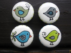 Whimsical bird knobs set of four by ShoeHouseStudio on Etsy, $20.00