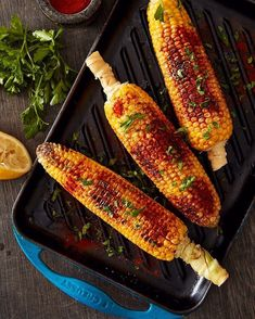Buy nonstick or cast iron grill pans & griddles in many styles from square skillet grill pan, panini press, oval Dutch oven with a grill pan lid, giant or skinny griddle, from Le Creuset. Le Creuset Grill Pan, Summer Side Dishes, Cast Iron Cooking, Smoked Paprika, Chili Powder, Griddle Pan, Cob, Parsley, Summer Recipes
