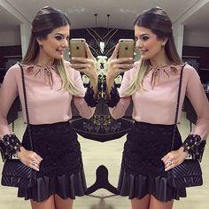 Fridaaay!! Camisa e saia hoje by @banana.lima | #lookdanoite #lookofthenight…