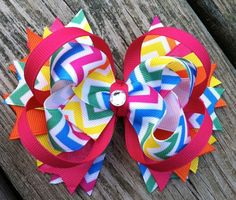 chervon+bows | CHEVRON HAIR BOW Boutique Style Multicolored by ... | Bows to make