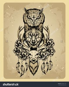 Owl, Wolf And Deer In The Style Of Tattoo Stock Vector ...