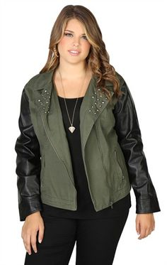 Deb Shops Plus Size #Leather #Jacket With Fleece Hood and Full Zip ...