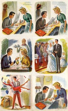 🌟Tante S!fr@ loves this📌🌟Endless Cycle, art by Constantin Alajalov Vintage Love, Vintage Ads, Vintage Posters, Vintage Couples, Vintage Illustration Art, Illustrations, Retro Images, Vintage Pictures, Fee Du Logis