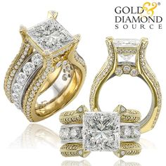 Custom 5.01 ct Princess Cut Center Stone set in an 18K two-tone gold ring accented by 3.58ct tw round brilliant diamonds.
