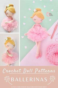 Ballerina Crochet Doll Pattern, Amigurumi Doll with Tutu and Flowers Pattern, Bailarna Patron Jennie from the series of Mini Ballerina Doll, Amigurumi Crochet Doll Pattern. This is a DOWNLOADABLE TUTORIAL. Written in English, using Us terminology