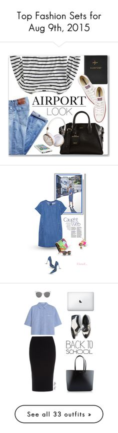"""Top Fashion Sets for Aug 9th, 2015"" by polyvore ❤ liked on Polyvore featuring FOSSIL, J.Crew, Converse, DKNY, Frends, casual, stripes, casualoutfit, airportlook and MANGO"
