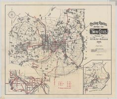 1899 Twin Cities Cycling Routes.