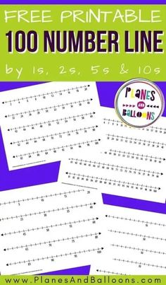 100 number line free printable - number line worksheets for grade 1. #planesandballoons First Grade Math Worksheets, Kindergarten Math Activities, Number Activities, Teacher Worksheets, Homeschool Math, Math Teacher, Homeschooling, Printable Number Line, Free Printable Numbers