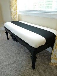 eight dollar good will coffee table turned into cute bench. Awesome! I want to make one of these this summer to put by my bay window and one for the end of my bed