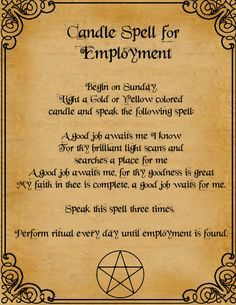 Book of Shadows: Candle Spell For Employment Magick Spells, Candle Spells, Candle Magic, Hoodoo Spells, Healing Spells, Tarot, Spells For Beginners, Foto Transfer, Book Of Shadows