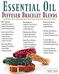 Essential Oil Diffuser Bracelet Recipes