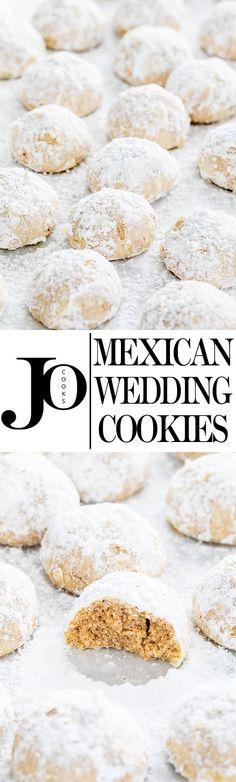 Mexican Wedding Cookies dont get fooled by the name these cookies will make a great addition to your favorite holiday cookies. They'll be gone in seconds! Delicious Cookie Recipes, Yummy Cookies, Yummy Treats, Dessert Recipes, Sweet Treats, Christmas Deserts, Christmas Dishes, Christmas Baking, Sweet Desserts