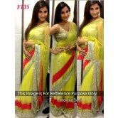 lemon-green-net-saree-f135