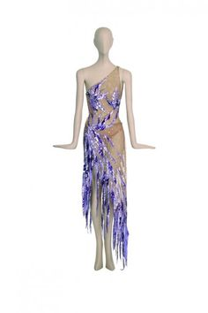 Cher Circa 1970s nude leotard and skirt embroidered with purple and lavender sequin flowers, designed by Bob Mackie.