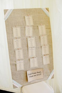 Rustic wedding table plan with pastel ribbon detail. For more inspiration visit www.weddingsite.co.uk