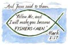 """Hand Lettered Calligraphy Print - """"Mark 1:17"""" - Christian décor -Scripture -Wall art"""