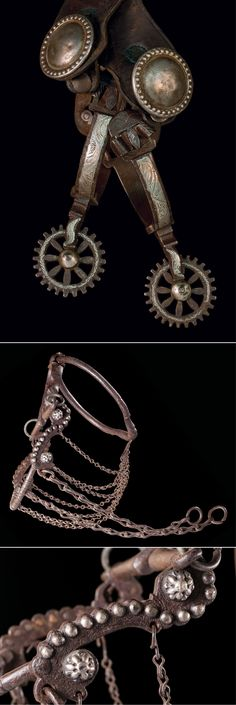 """Republic de Mexico 19th Century Spurs & Ring Bit: a) Tasteful, double-mounted, silver inlaid, floral engraved Mexican spurs with 1 7/8"""", 26-point inlaid rowels, swinging buttons, untooled two-piece leathers with 1 ¾"""" domed metallic conchos, all original, circa 1860s.  b) Impressive, oversized Mexican ring bit with raised coin silver spots on the scalloped cheeks, three rows of four copper rollers on the mouth, ornate and stylized iron detailing, original rein chains, plus the letters """"JM""""…"""