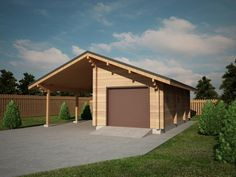 Very practical timber garage with a carport. For more timber garages visit quick-garden.co.uk/wooden-garages-aluminum-carports.html