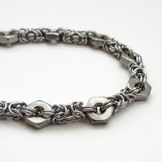 Hex nut & Byzantine chainmail bracelet by TattooedAndChained
