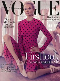 Model and Deputy Chair of the Australian Ballet, Sarah Murdoch, has just had her eleventh Vogue cover released. It's ballet-themed and totally heavenly. Vogue Magazine Covers, Fashion Magazine Cover, Fashion Cover, Vogue Covers, Australian Ballet, Australian Fashion, Vogue Fashion, Fashion Shoot, Fashion News