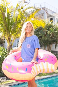 This large strawberry donut pool float is such a fun and playful addition to your next pool party! With a length of almost 4 feet, it's easy to sit back and lounge for a relaxing summer day. We love t