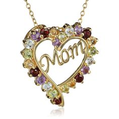 Mom Pendant Necklace. Heart shaped accented with colorful stones. Gifts for mom. (Mothers Day ideas)