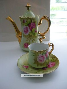 Lefton China Vintage Tea Pot, Cup & Saucer Hand Painted Green Heritage Japan Cups & Saucers photo