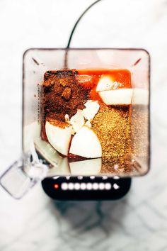 Five Minute Blender Enchilada Sauce - 6 ingredients // 5 minutes. A super healthy alternative to canned enchilada sauce!   pinchofyum.com