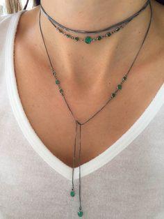 Compre Choker gravata longa rodio negro esmeraldas leitosas semi joia na Waufen ✓ Semjoias Finas ✓ Ótimos Preços ✓ Entrega Rápida e Segura ✓ Pgto em até 12 Vezes