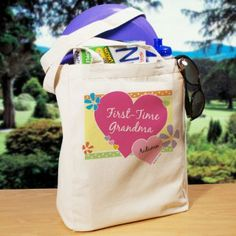 Cheerful first time Grandma tote is personalized with baby's name and birth date.  You can use any title - Nana, Granny, etc.