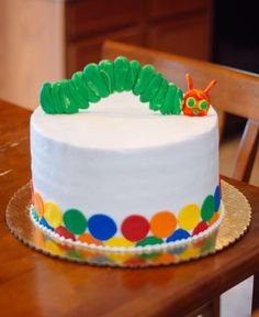 Awesome cake at a Very Hungry Caterpillar birthday party! See more party ideas at CatchMyParty.com!