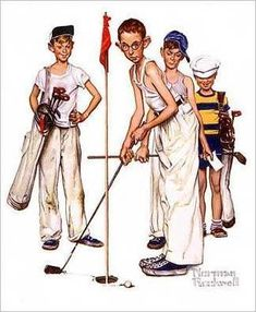 """iCanvas """"Missed (Four Sporting Boys: Golf)"""" by Norman Rockwell Canvas Wall Art - The Home Depot Golf Painting, Painting Prints, Canvas Prints, Canvas Artwork, Art Paintings, Norman Rockwell Prints, Norman Rockwell Paintings, Peintures Norman Rockwell, The Saturdays"""