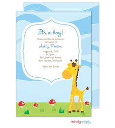 Blue Giraffe Invitation | Zurianas Elegant Occasions #baby #babyshower #giraffe