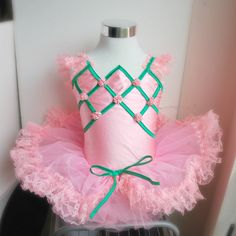 Vintage Child's Tutu Ballet Recital Costume - Pink and Green Tulle and Lace