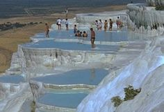 The rock formations of Pamukkale.  Turkey