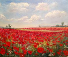 Mohnfeld Malerei Spachtel Original Ölgemälde Landschaft