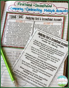 Analyzing Firsthand and Secondhand Accounts.  Comparing and Contrasting Firsthand and Secondhand Accounts. This blog post includes an anchor chart, freebies, interactive notebook templates, and task cards to help you teach this tricky concept!$
