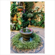 Spanish courtyard garden with circular planter and water feature