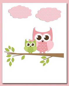 Pink and green brown owl wall art nursery Art Print by SednaPrints, $13.50