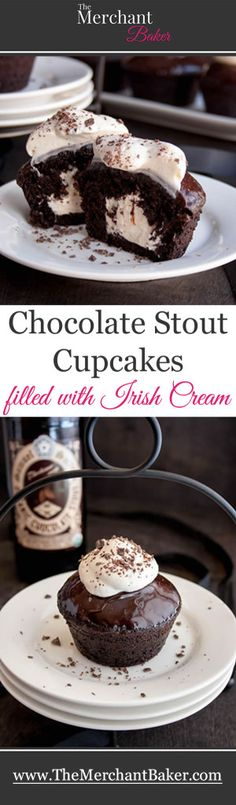 Chocolate Stout Cupcakes filled with Irish Cream then dipped in dark chocolate ganache, topped with more cream and sprinkled with chocolate.