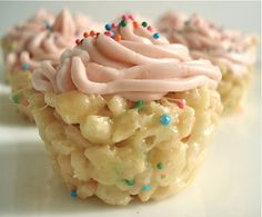 Cake Batter Rice Krispie Cupcakes. Seriously. Parents should send these to school for birthdays!