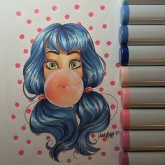 Instagram media hope.hokulani -  #drawing #art #illustration #copic #marker #bubblegum