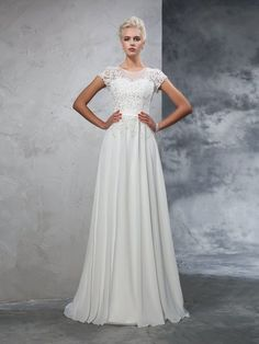 A-Line/Princess Sheer Neck Applique Short Sleeves Sweep/Brush Train Chiffon Wedding Dresses DressyWell