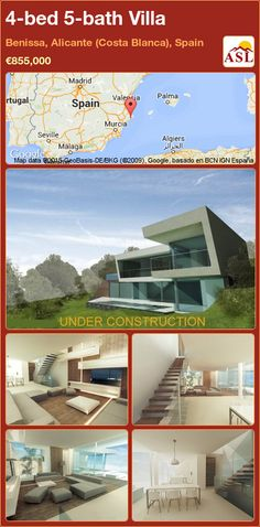 Villa for Sale in Benissa, Alicante (Costa Blanca), Spain with 4 bedrooms, 5 bathrooms - A Spanish Life Alicante, Glass Facades, Central Heating, Murcia, Seville, Malaga, Contemporary Design, Interior And Exterior, Spain