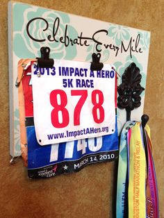 Running Medal holder and Running Race bib Holder - Celebrate Every Mile. I can easily make this for my husband's medals and bib Running Medals, Running Race, Running Workouts, Trail Running, Running Guide, Workout Fun, Running Songs, Running Quotes, Workout Quotes