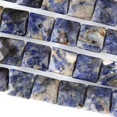 """Sodalite, 10mm Faceted Square, 8"""" Strand, 7SO62-0002"""