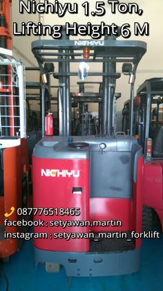 [ FOR SALE ] Reach Truck Nichiyu 1.5 Ton, Lifting Height 6 M,  087776518465.
